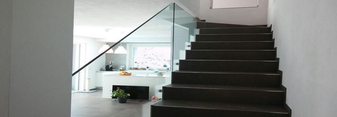 vetreria gottardi, scala, parapetto in vetro