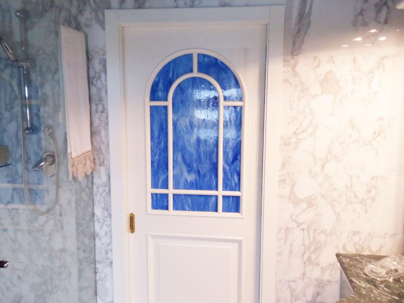 vetreria gottardi, porta interna, vetro blu