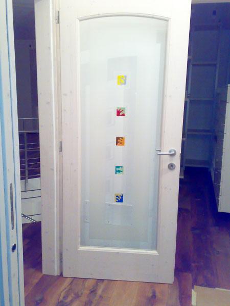 vetreria gottardi, porta interna, vetro satinato, murrine